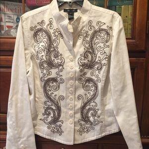 Karen Kane cotton cream  jacket Brown embroidery
